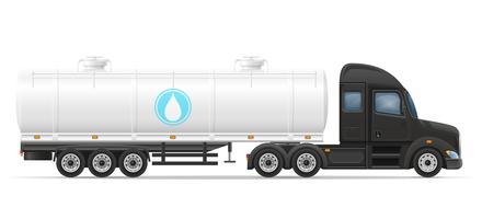 consegna del rimorchio dei semi del camion e trasporto del serbatoio per l'illustrazione liquida di vettore