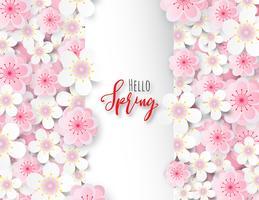 Fiore di prugna o fiore di ciliegio con quadrato bianco. vettore