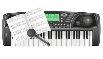 note del sintetizzatore e illustrazione vettoriale microfono