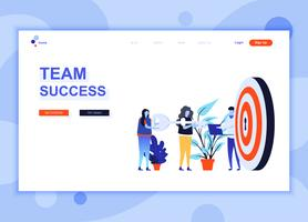 Il moderno concetto di modello di design di pagina web piatta di Team Success ha decorato il personaggio delle persone per lo sviluppo di siti Web e siti web per dispositivi mobili. Modello di pagina di destinazione semplice. Illustrazione vettoriale