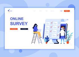 Il moderno concetto di modello di design di una pagina Web piatta di sondaggio online ha decorato il personaggio delle persone per lo sviluppo di siti Web e siti web per dispositivi mobili. Modello di pagina di destinazione semplice. Illustrazione vettori