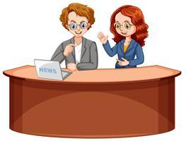Reporter di notizie maschili e femminili vettore
