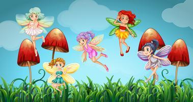 Fate che volano nel giardino dei funghi vettore