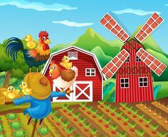 Scena di fattoria con spaventapasseri e polli vettore