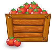 Pomodoro su tavola di legno vettore