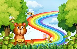 Animali nel parco con sfondo arcobaleno