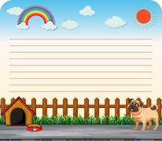 Linea di design di carta con il cane vettore