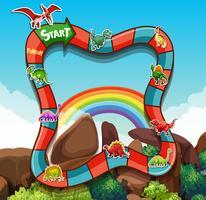 Modello di gioco con dinosauri e montagna vettore