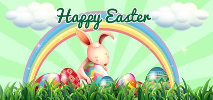 Coniglio di Pasqua con uova decorate