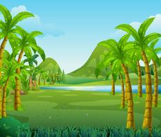 Scena con alberi e lago