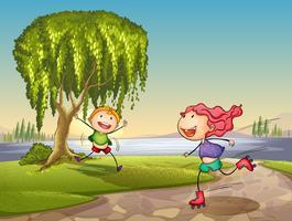 bambini che giocano intorno all'albero vettore