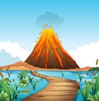 Scena della natura con l'eruzione del vulcano in riva al lago
