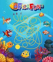 modello di gioco maxi di pesci sott'acqua vettore
