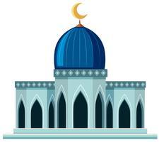Una bella moschea su sfondo bianco