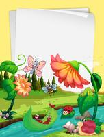 Disegno di carta con insetti sul fiume vettore