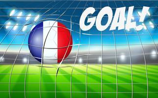 Una bandiera francese sul pallone da calcio