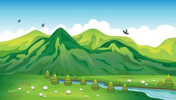 Pecore, uccelli e un bellissimo paesaggio vettore