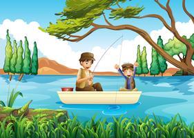 Padre e figlio pesca nel lago vettore