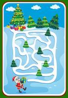 Modello di gioco con Babbo Natale e albero di Natale vettore