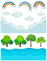 Scena della natura con arcobaleno e fiume vettore