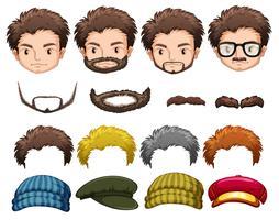 Set di uomo con elemento facciale vettore