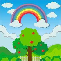 Arcobaleno sopra l'albero di mele