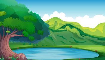 Scena di sfondo con stagno nella montagna