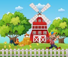 Agricoltore che lavora nella fattoria vettore
