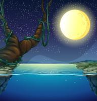 Scena della natura con luna piena e fiume