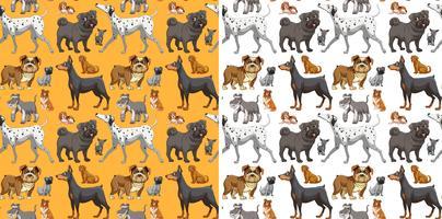 Design senza cuciture con cani carini vettore