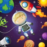 Felice astronauta nello spazio vettore