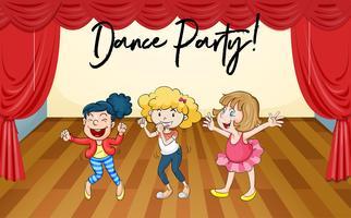 Le ragazze felici ballano sul palco vettore