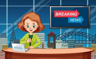 Un reporter di notizie femminili vettore