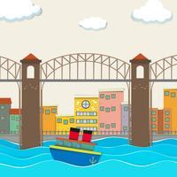 Vista della città con ponte e barca vettore