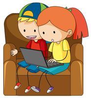 Doodle bambini che giocano al computer