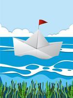 Barca di carta che galleggia sul fiume vettore