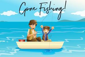 Padre e figlio che pescano con parole andate a pescare vettore