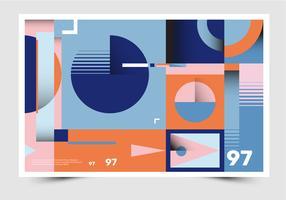 Vettore geometrico del manifesto del materiale illustrativo astratto piano