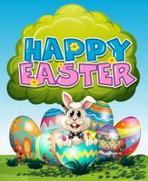 Manifesto di Pasqua felice con coniglietto e uova su erba