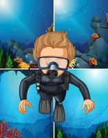 Uomo che si tuffa sott'acqua e sfondi oceanici