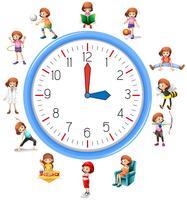 Attività della donna sull'orologio vettore