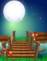Scena con luna di miele di notte vettore