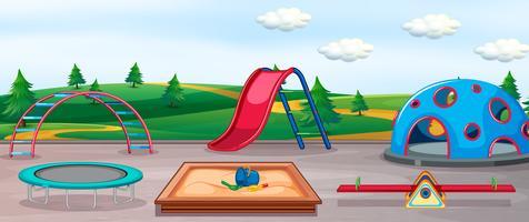 Parco giochi vuoto e attrezzature divertenti vettore