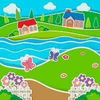 Case vicino al fiume vettore