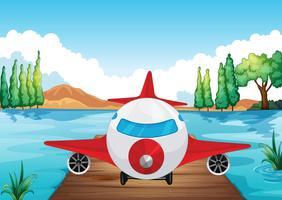 un aereo che atterra nella natura vettore