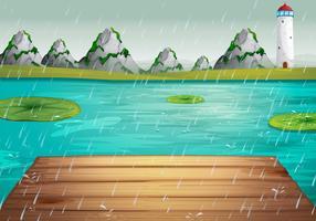 Scena del lago durante la pioggia