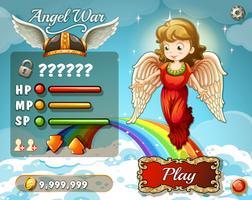 Modello di gioco con angelo nel cielo vettore