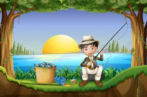Uomo che pesca in riva al lago vettore