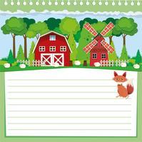 Disegno di carta con volpe e terreni agricoli vettore