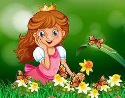Principessa carina in giardino vettore